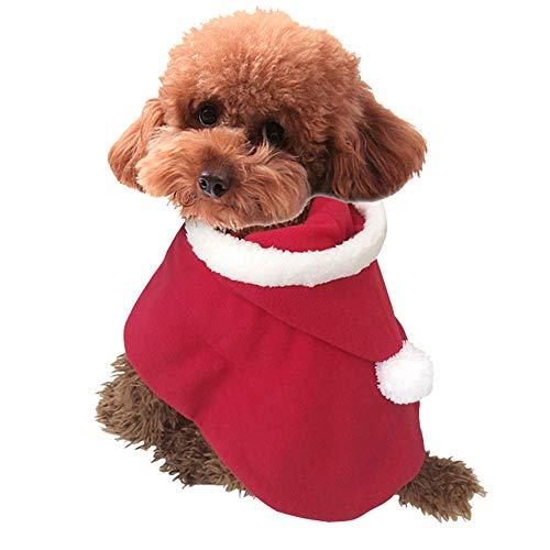 m Poncho Cape mit Mütze Santa Claus Umhang für Katzen und Hunde, Rot, XS ()