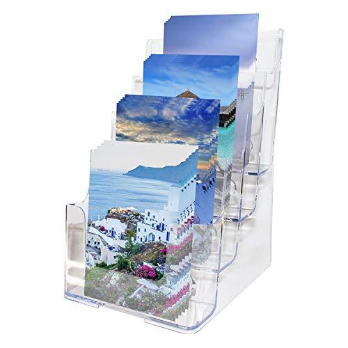 Espositore da Brochure Multilivello Acrilico (4 Tasche A5) - Supporto Volantini (16.5 x 16 x 26cm) per Muro o Scrivania - Supporto Espositore Trasparente per Opuscoli, menù - 2 Fori Fissaggio Muro