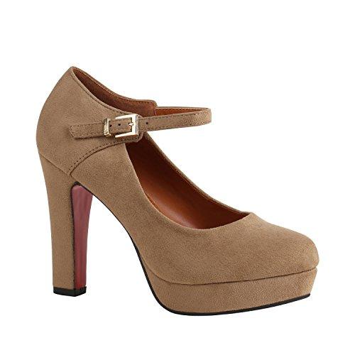 Stiefelparadies Damen Schuhe Pumps Mary Janes Blockabsatz High Heels T-Strap 157040 Creme Brito 36 Flandell
