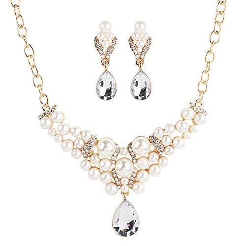Zqword orecchini con ciondolo boho in perle da donna bohè collana con orecchini pendenti,1