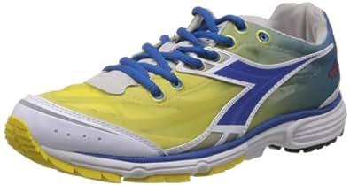 Diadora Men's N-2100 White, Royal and Yellow Mesh Running Shoes - 6 UK