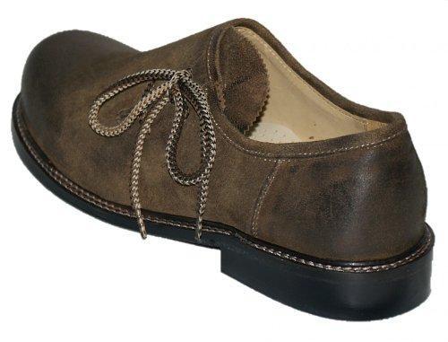Trachtenschuhe Herren Haferlschuhe Trachten-Schuhe Leder braun antik Ledersohle Schnürschuhe Tanzschuhe Lederschuhe Glatte Sohle für Tänzer Plattler zur Lederhose zum Tanzen, Größe:48 - 4