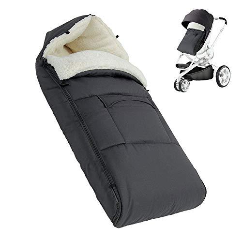 BeebeeRun Fußsack Baby, Fußsack für Kinderwagen Buggy Autositz, Winterfußsack aus Wolle Passend für Alle Kinderwagen/Babyschale (Grau)
