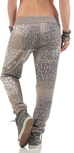 malito Sweatpants mit Schriftzug Baggy 3570 Damen One Size Fango