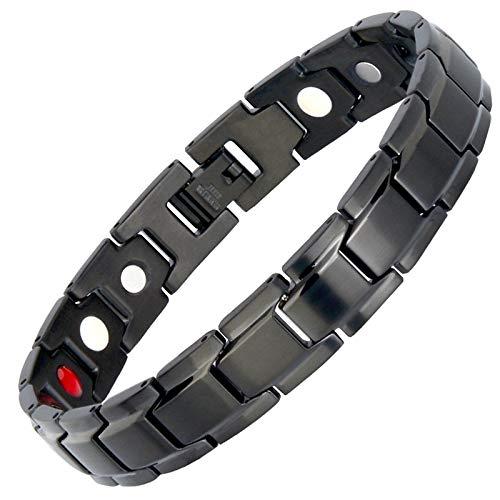 Lgwj Men's Health Black Diamond Titan-Magnetarmband, Elegantes Titan-Magnetarmband gegen Arthritis und Schmerzen im Karpaltunnel,OneSize