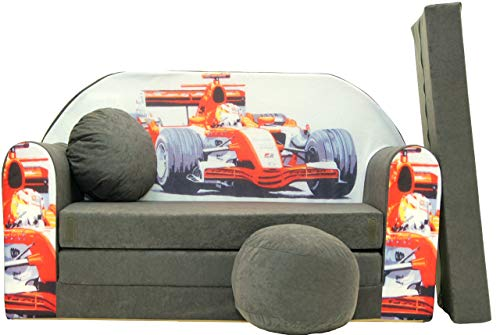 Pro Cosmo A22Kinder Schlafsofa mit Puff/Fußbank/Kissen, Stoff, Grau, 168x 98x 60cm