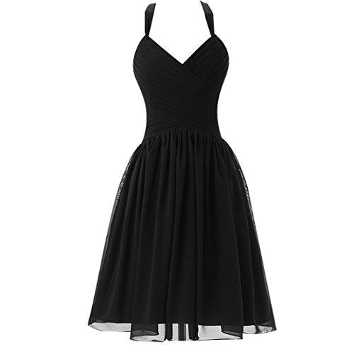 Find Dress Sexy Robe Desigual d'Anniversaire Fête Gala Robe de Mariée Courte Cérémonie Femme Rockabilly Swing Décolleté au Dos Robe Bal de Promo en Mousseline Noir