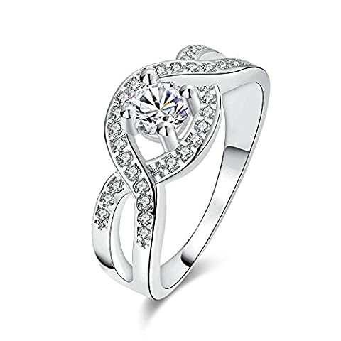 Thumby Round Zircon Ring for Women,Platinum Plated,8