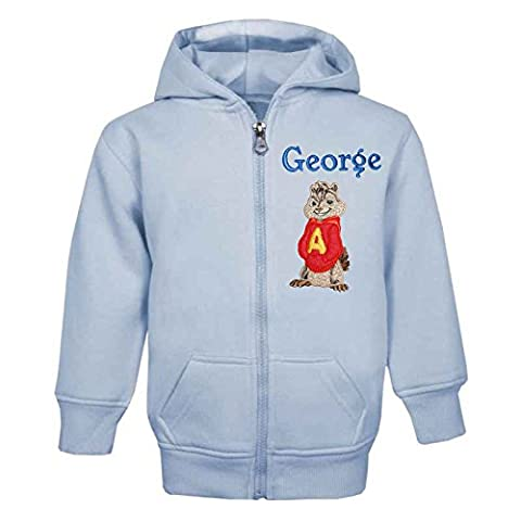 ALVIN The Chipmunk Personalised Zip Front Hoodie in Baby Blue