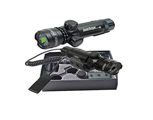 CursOnline® Puntatore Laser Di Precisione Per Fucile Pistola Caccia Softair Tiro Di Colore Verde Set Completo Di Attacchi, Cordino Remoto, Batteria e Caricabatterie. Distanza 2000 Metri
