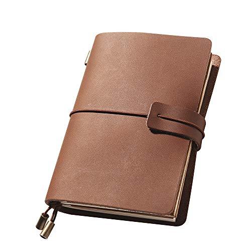 Notizbuch Leder Tagebuch Reisetagebuch Travelers Notebook Perfekt für Schreiben Travel Leather Journal Geschenk für Mann & Frau Nachfüllbar Notizbuch & Travel Tagebuch, 13.5 x 10.5cm, Braun