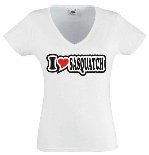 T-Shirt Damen - I Love Heart - V-Ausschnitt I LOVE SASQUATCH Weiß