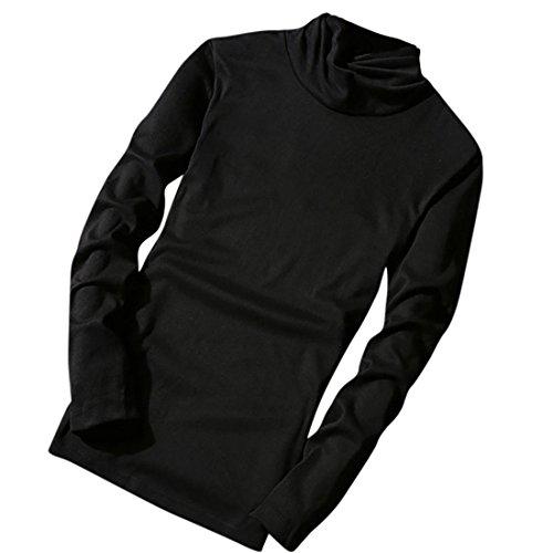 Sweatshirt Herren Btruely Winter Mode Männer Rollkragen Pullover Langarm Tops Männer Retro Bluse (XXL, Schwarz) (Rollkragen Pullover Ralph Lauren)
