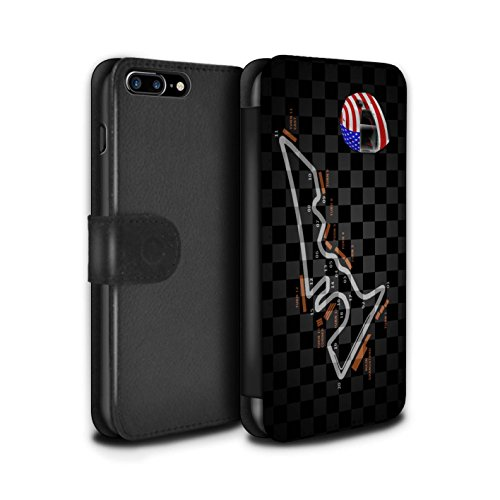 Stuff4 Coque/Etui/Housse Cuir PU Case/Cover pour Apple iPhone 8 Plus / Singapour Design / 2014 F1 Piste Collection USA/Austin