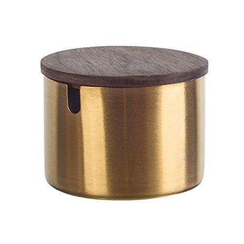 Edelstahl runder Zigarettenaschenbecher 8cm Durchmesser Gold Ton 1 Stück (Farbe: Mit Deckel) -