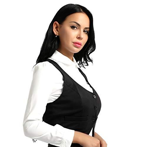 iixpin Damen Kurz Weste Anzug Weste Modern Kellnerweste Slim Fit für Restaurant Bar Schwarz Large