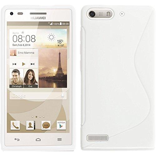 PhoneNatic Case für Huawei Ascend P7 Mini Hülle Silikon weiß S-Style Cover Ascend P7 Mini Tasche + 2 Schutzfolien