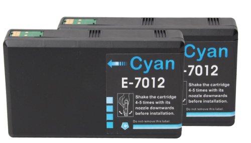 Preisvergleich Produktbild Premium 2er Pack Tintenpatronen Kompatibel zu Epson T 7012 Epson WorkForce PRO WP 4095 WP 4515 WP 4525 WP 4535 WP 4545 WP 4595 (Cyan)