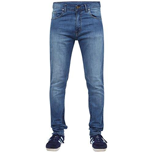 Newfacelook Männer Dünne Jeans Konstrukteur Mode Denim Hose Schlauch Dunkelblau