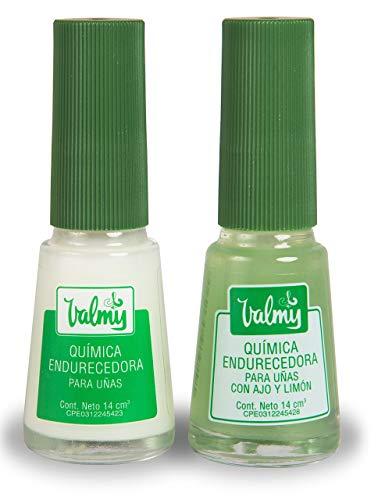Valmy Química Endurecedor de Uña + Química con Ajo y Limón - Tratamiento de Esmalte Fortalecedor y Blanqueador, Pack de 2 (2 x 14 ml)