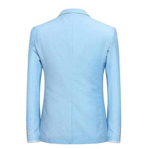 Herren 3-Teilig Slim Fit Anzug Smoking Anzugjacke Hose Weste von Allthemen Hellblau