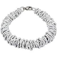 ParticolarModa Bracciale stile dodo lucido diamantato nodini intrecciato per donna in alluminio e acciaio Dorato Argentato Bronzo 7 mm