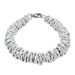 Idea Regalo - ParticolarModa Bracciale stile dodo lucido diamantato nodini intrecciato per donna in alluminio e acciaio Dorato Argentato Bronzo 7 mm