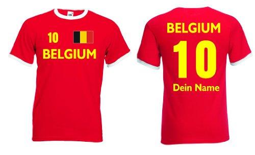 Fruit of the Loom Belgium Retro T-Shirt mit Wunschname & Nummer Belgien Trikot|r-xxl