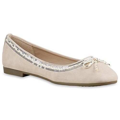 Klassische Damen Ballerinas | Flats Slipper Flache Schuhe | Übergrößen | Spitze Metallic Glitzer Creme Schleife