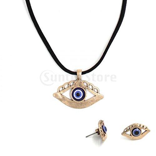 Gazechimp Conjuntos Moda Clásica Colgante de Collar Mar de Ojo y Pernos Prisioneros del Oído Amuletos de Suerte