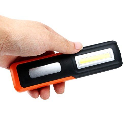 Titop LED-Arbeitsleuchte mit USB-Anschluss, wiederaufladbar, magnetisch, Taschenlampe, 3 W, COB, für drinnen und draußen, für Camping, Notfall-Laterne, Orange, Pocket Size -