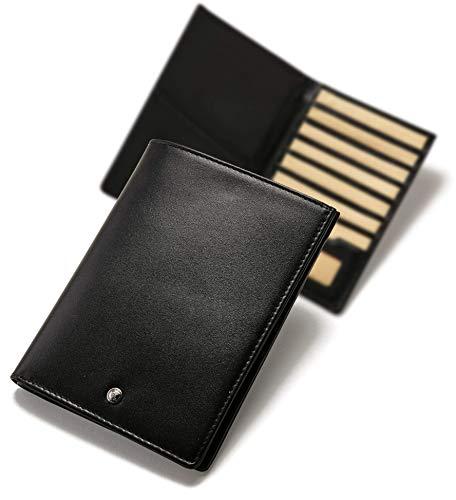 Hülle Reisepass-Etui Organizer Geldbeutel Karten-Etui Kreditkarten RFID-Schutz Slim Canvas Leder-Hülle - Explorer-Black Beige ()