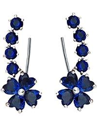 QUKE Woman Cubic Zirconia Crystal Cuff Wrap Ear Vines Climbers Earrings Jewelry
