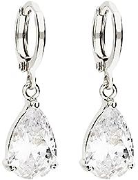 MYA art Damen Creolen Ohrringe Hängend Ohrhänger mit Tropfen Anhänger  Zirkonia Strass Stein Silber Weiß Vergoldet 186b1a18c6