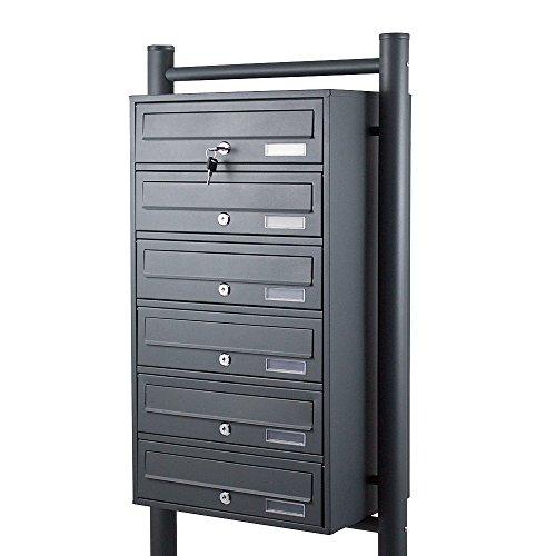 BITUXX® Stand-Briefkastenanlage Postkasten Letterbox Mailbox mit 6 Fächer Dunkelgrau Anthrazit