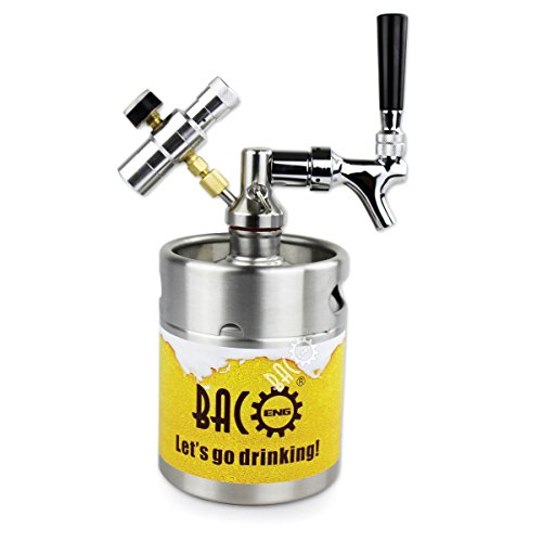 41ksTx5TZCL. SS500  - BACOENG 3.6L Pressurized Keg Growler, Kegerator for Home Brew Beer with Updated CO2 Regulator