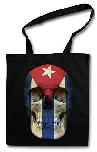 CUBA FLAG SKULL Hipster Shopping Cotton Bag Borse riutilizzabili per la spesa - cranio bandiera Kuba cranio bandiera Revolution Fidel Castro Che Guevara