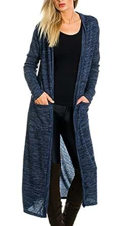 kendindza premium damen strickjacke cardigan lang 13 onesize blau bekleidung. Black Bedroom Furniture Sets. Home Design Ideas
