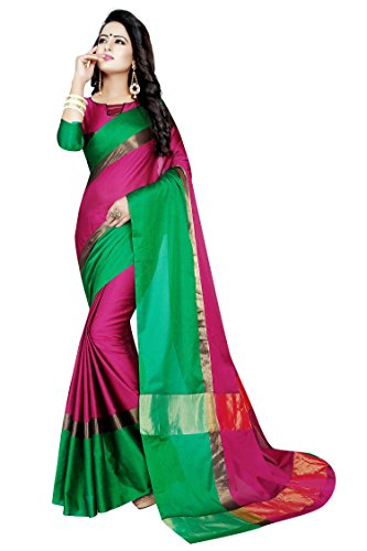 PERFECTBLUE Women's Cotton Silk Saree With Blouse Piece (Majentagreenvisva_Majenta)