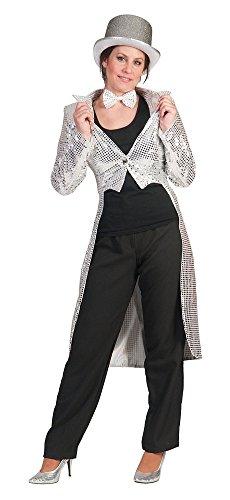 Pailletten Frack für Damen Silber Gr. 36 38 zum Show Kostüm für Karneval Faschingoder Mottoparty