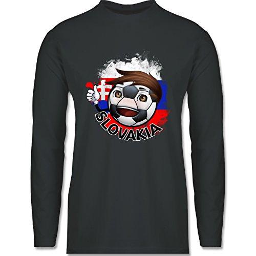 EM 2016 - Frankreich - Fußballjunge Slowakei - Longsleeve / langärmeliges T-Shirt für Herren Anthrazit