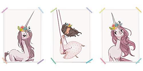 myprinti® 3er Set Kinderzimmer Poster Babyzimmer Bilder | Mädchen Baby | Wanddeko Bildergalerie Deko | Größe DIN A4 | Einhorn, Mädchen auf Schaukel, Einhorn mit Blumen, Romantik -
