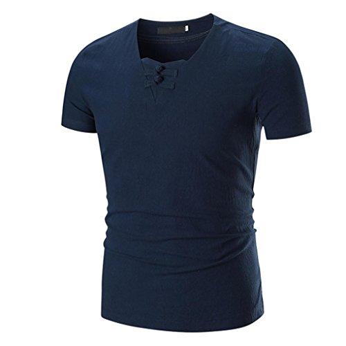 Kanpola Herren T-Shirts Männer Klassisch Einfarbige Slim Fit Absicherung Kurzarm Shirt (Camo Tie Blau)