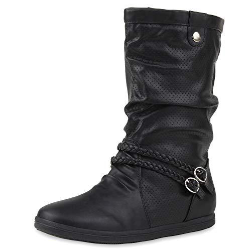 SCARPE VITA Damen Schlupfstiefel Sportliche Stiefel Leder-Optik Boots Geflochtene Schnalle Zierknöpfe 172586 Schwarz Schwarz 41