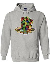 Melting Rubik`s Cube Game Novelty White Femme Homme Men Women Unisex Sweat à Capuche Hooded Sweatshirt Hoodie