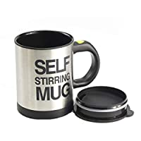 400 ML Auto Mixing Coffee Tea Cup Stainless Plain Lazy Self Stirring Novelty Mug Black