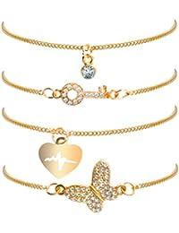 LUOEM Pulsera Set Multi Style Pulseras plateadas accesorios de la joyería para las mujeres 4pcs