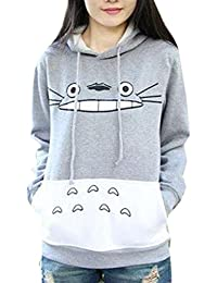 La Cabina Femme T-Shirt Sweat-shirt à Capuche Casual Motif Totoro Mignon pour printemps Automne Hiver