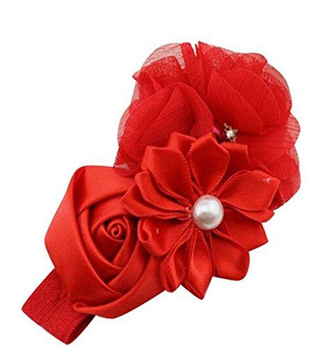 ZEZKT-Girl Baby Mädchen Kinder Stretch Stirnbänder Haarbänder Elastisches Perlen Blumen Kopftuch Hasenohren Kopftuch Blumen-Haar-Schleife Kinder Gestrickt Stirnbände Rosa Blumen (Rot)