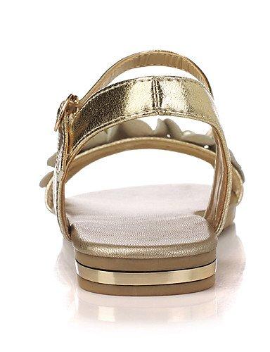 LFNLYX Scarpe Donna-Sandali-Tempo libero / Formale / Casual-Alla schiava / Cinturino alla caviglia-Basso-Finta pelle-Nero / Bianco / Dorato Black